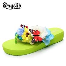 Ladies Beach Flip Flop Women Home Silk Slippers 2019 Summer Comfortable Butterfly Floral Fashion Casual Flip-flops