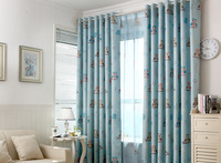Suitable For Children Room Cartoon Style Blackout Curtains Cute Owl Patterned Curtains