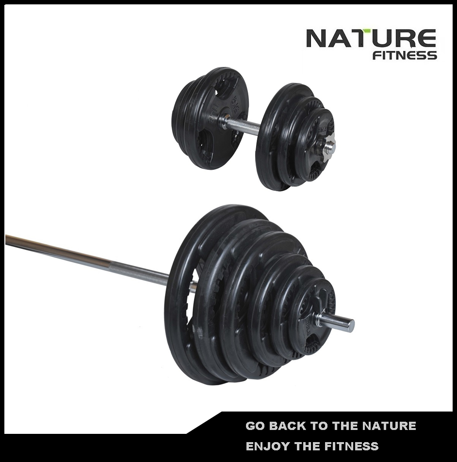 50kg Adjustable Gym Standard Rubber Coated Barbell and Dumbbell Weight Plates Set Equipment for Weightlifting Strength Training