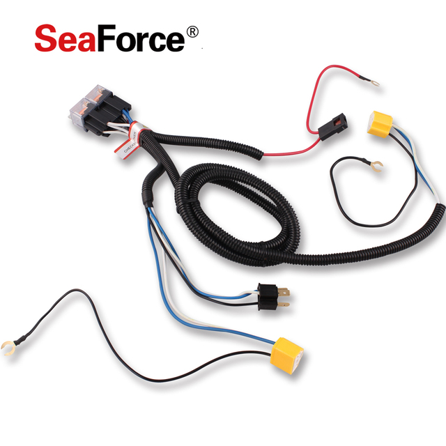SeaForce Hot Sale Waterproof 12V 2 Light H4 Headlight Wiring Harness on h4 plug wiring ground, chevy 2 headlight relay harness, h4 headlight socket wiring diagram, h4 headlight connector 12 gauge, electrical harness, automotive wiring harness, h4 vs 9003 wiring, h4 headlight wiring details, h4 wiring with diode, heavy duty headlight harness,