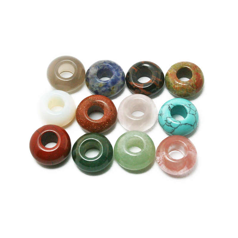 Promotion!!! Natural stone European Pendants Beads Round Mixed Big Hole Beads About 7x14mm Dia, Hole: Approx 6mm BTB732