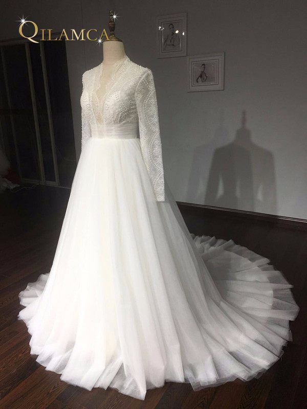 Πραγματικά δείγματα μπάλα φόρεμα Puffy - Γαμήλια φορέματα - Φωτογραφία 4