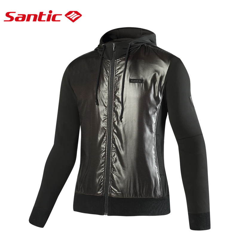 Santic Mens Winter Cycling Jackets Thermal Cycling Coat Windproof Hiking Jacket Bicycle Mtb Bike Jacket Black Cycling Clothings santic men cycling jacket upf30 mtb bicycle bike rain jacket raincoat long sleeve outdoor sport windproof cycle clothing 2017