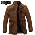 DIMUSI PU Leather Jacket Men Long Wool Leather Stand Collar Velvet Warm Jacket Coat Men Leather Jackets FashionTrench Parkas