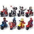 16 Шт. Мотоцикл Строительные Блоки Капитан Америка Мстители Super Heroes Ironman человек-паук Супермен Кирпичи Игрушки
