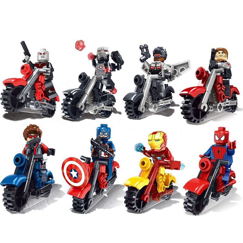 16Pcs Avengers Super Heroes Motorcycle Building Blocks Captain America Ironman spiderman Superman Bricks Toys singlesale captain america 3 with car civil war marvel super heroes the avengers minifig assemble building blocks kids toys