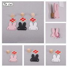 1PC Nordic Style Black White Wood Cute Rabbit Hook Multifunction Wall Stickers Childrens Room Decoration 3D Sticker