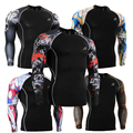 Fashion Men's T-shirts Long Sleeves Compression Tights Tee Shirt Multi-functional 3D Prints MMA Rashguard Elastic Mens Tops Wear