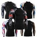 Hombres de la moda Camisetas de Manga Larga Medias de Compresión Camiseta 3D Multi-funcional Impresiones MMA Lycra Elástico Mens Tops desgaste