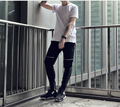 high quality mens streewear clothing black skinny tapered biker sweatpants leather patchwork knee zipper pants men sweats jogger