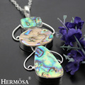 Hermosa jewelry Exclusive design natural Abalone Shell  925 Sterling Silver Retro unique charm necklace Pendant HF767