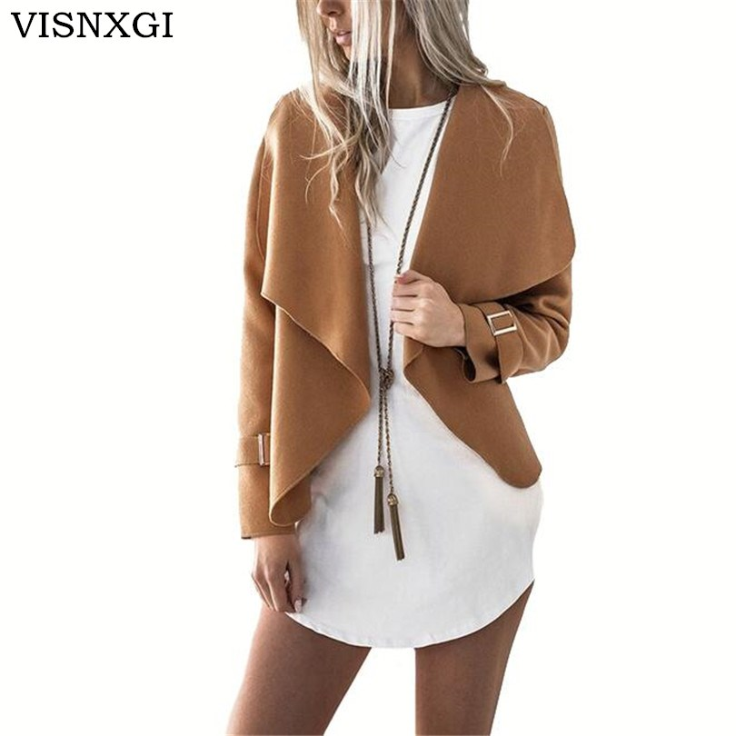 VISNXGI Women Turn Down Collar Jacket Coat Casual Long