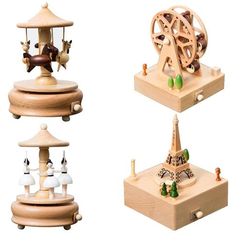 Wooden Music Box Creative Gifts For Kids Musical Carousel Ferris Wheel Boxes Wood Crafts Retro Home Decoration Accessories Pakistan