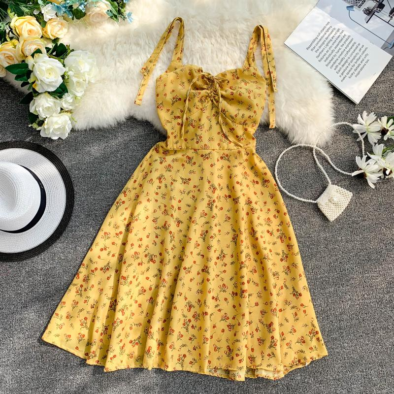 Strap V-Collar Flower Printing Drawstring High Waist A-Line Beach Dress 2
