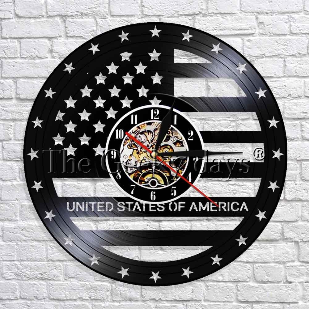 Us 16 72 12 Off Usa Flagge Unabhangigkeit Tag Uhr Vintage Kunst Dekorative Wanduhr Vinyl Nachtlicht Uhr Coole Wohnzimmer Interior Decor In Wanduhren