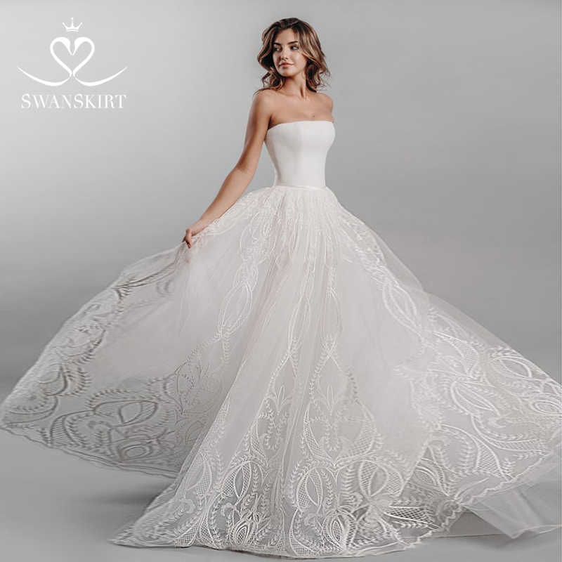 Swanskirt Delicate Strapless Appliques Lace A-line Wedding Dresses 2019 Vintage Sweep Train Bridal Dress Vestido de Noiva X109