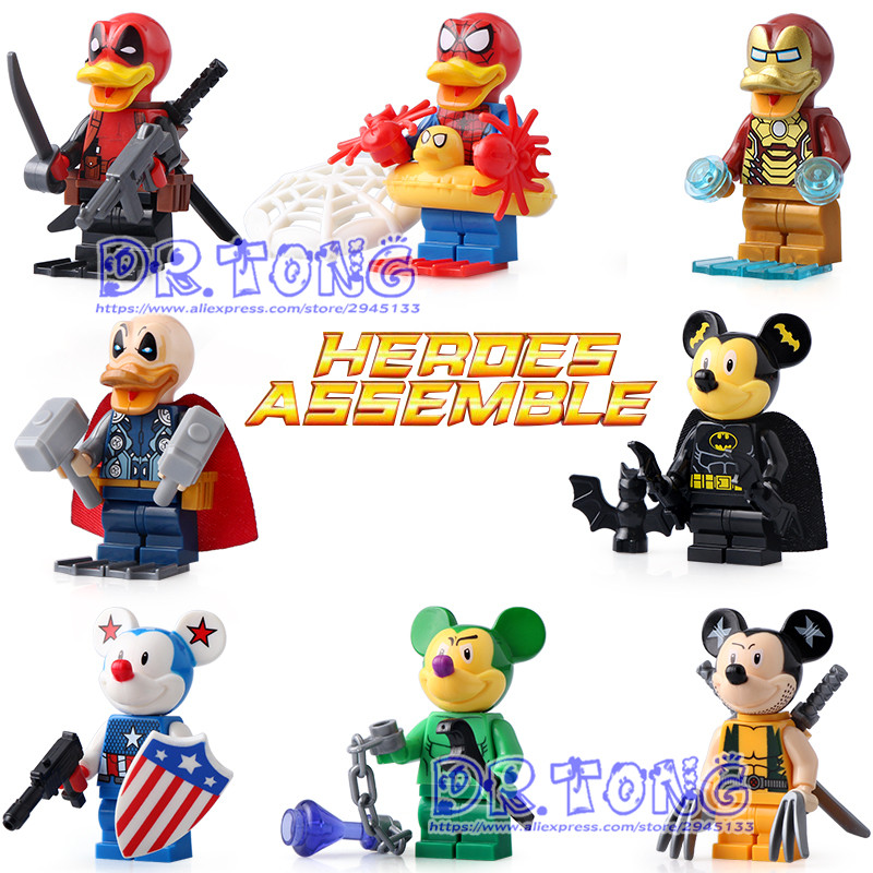 DR.OTNG 10set SY670 Super Hero Figure Deadpool Spider-Man Iron Man Thor Duck Building Blocks Model Bricks Toys Children Gifts dr tong 80pcs lot sy670 super heroes deadpool spider man iron man thor duck figure building blocks bricks education action toys