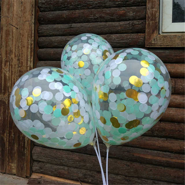 12 White Blue And Gold Helium Confetti Balloons