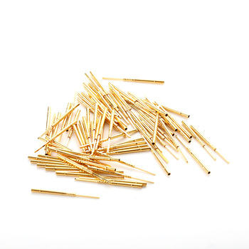 цена на 100PC Spring Contact Probe Gold Color Brass Flat Head Pin for PCB Testing Spring Test Probe Pins R75-3W Dia 1.32mm Length 26.2mm