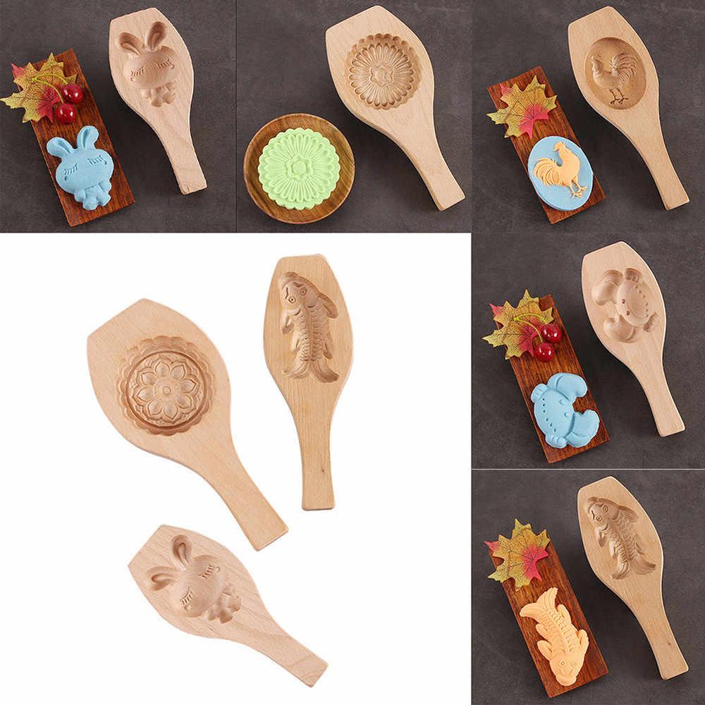 新 1 個木製月餅ベーキングモールドクッキー型 3D 花フォンダン月餅ツール、月餅キッチンアクセサリー Nove14