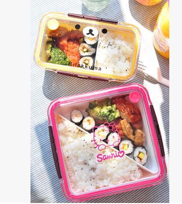 kawaii rilakkuma hello kitty cartoon lunch box vacuum bento box with spoon dinnerware set. Black Bedroom Furniture Sets. Home Design Ideas