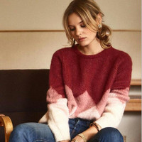 Women Christmas Wool and Mohair Knitted Pull Sweater Autumn Winter Leopold Jumper Long Sleeve Patchwork Top