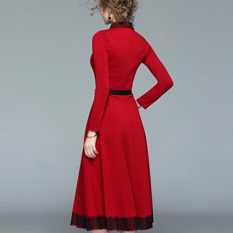 142a64338c3 MYCOURS Fashion Women Vintage Elegant Tunic Dress Sweet Patchwork Lapel  Lace Dress Long Sleeve Slim Beautiful Evening Long Dress-in Dresses from  Women's ...