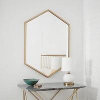 Nordic wrought iron hexagonal bathroom mirror wall hanging bedroom dressing table decorative mirror LO681624