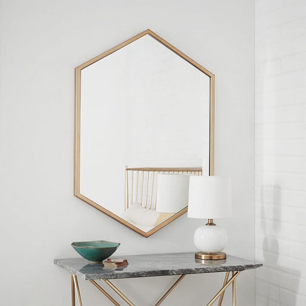 Wrought Iron Bathroom Wall Towel Shelf: Nordic Wrought Iron Hexagonal Bathroom Mirror Wall Hanging