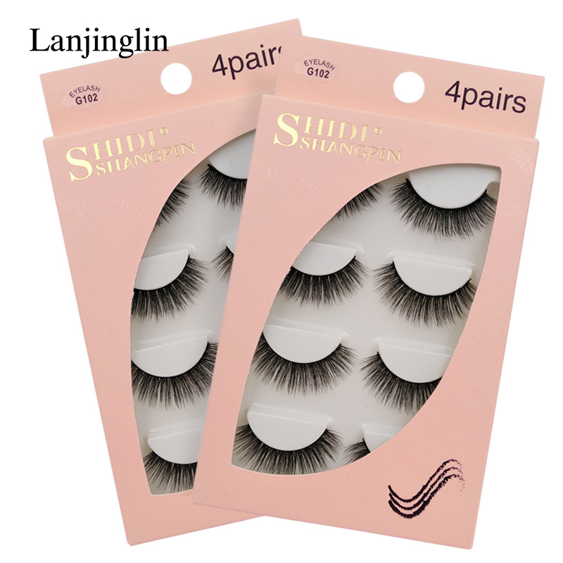 LANJINGLIN 4 Pairs Mink Eyelashes False Lashes Mink 3d Fake Eyelash Extension Make Up Cilios Natural Long Cruelty Free Lash