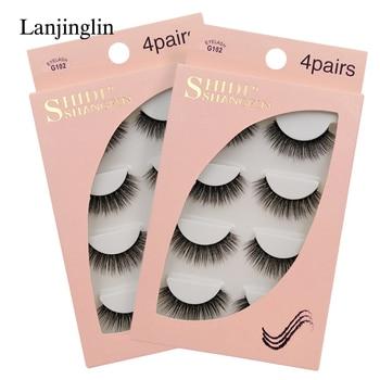 LANJINGLIN 4 pairs mink eyelashes false lashes mink 3d fake eyelash extension make up cilios natural long cruelty free lash