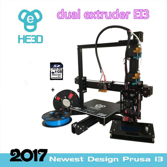 2018 the Newest dual nozzle Aluminium Extrusion 3D printer kit HE3D EI3 3D Printer with 2rolls filament+8GB SD card as gift