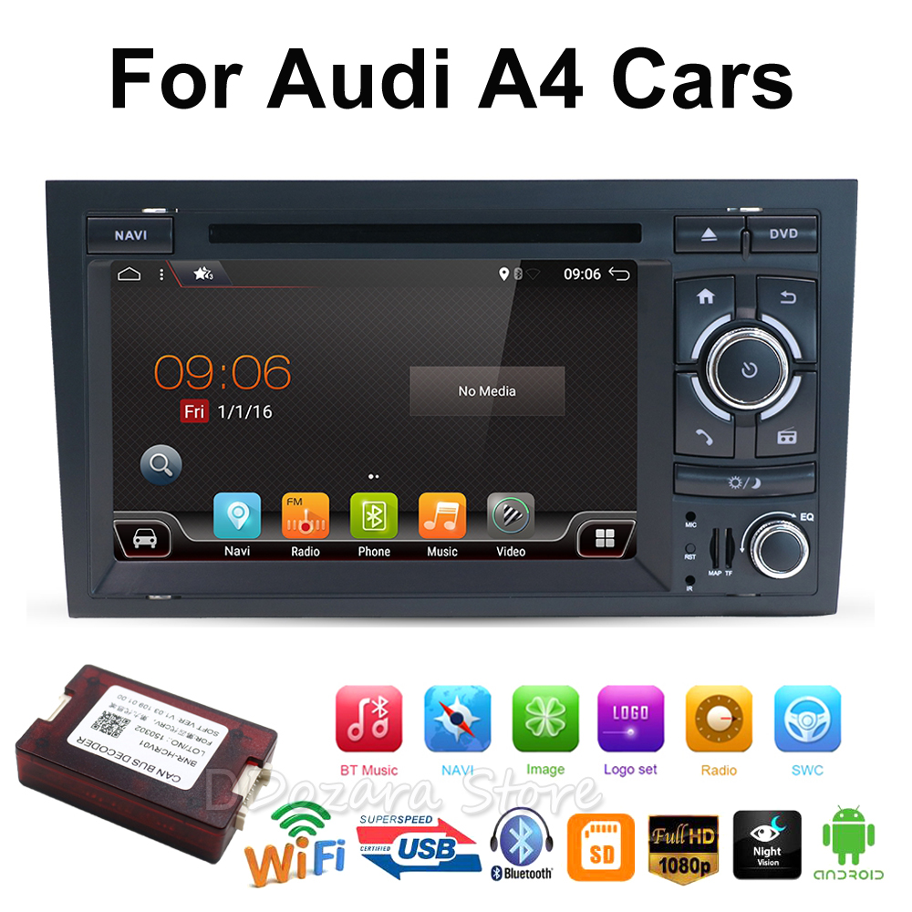 2din Car DVD GPS Navi for Audi A4 GPS (2003-2008) Audi S4/RS4/8E/8F/B9/B7 With GPS Wifi Bluetooth Radio RDS Canbus Map BT 13 pcs canbus white led light interior kit for audi a4 s4 b6 b7 avant 2002 2008 car stying