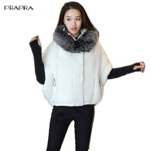 Prapra Fashion Women's Jacket Winter Warm Coat Female Cloak Style Hooded Parka Korean Furs Collar Outerwear Down Cotton Jacket