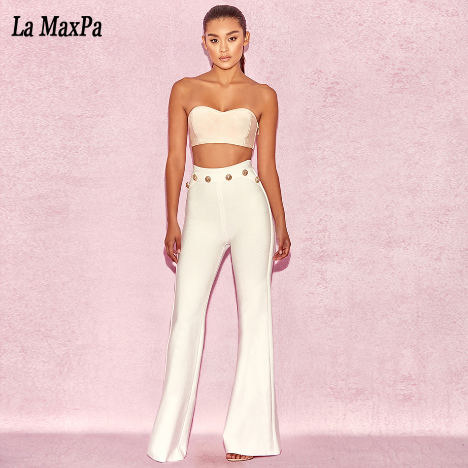 2017 New Summer Women Fashion Zipper Fly Bandage Pant Sexy Flare Pants Button Pant Evening Party Elegant White Pants Vestidos Sales Of Quality Assurance