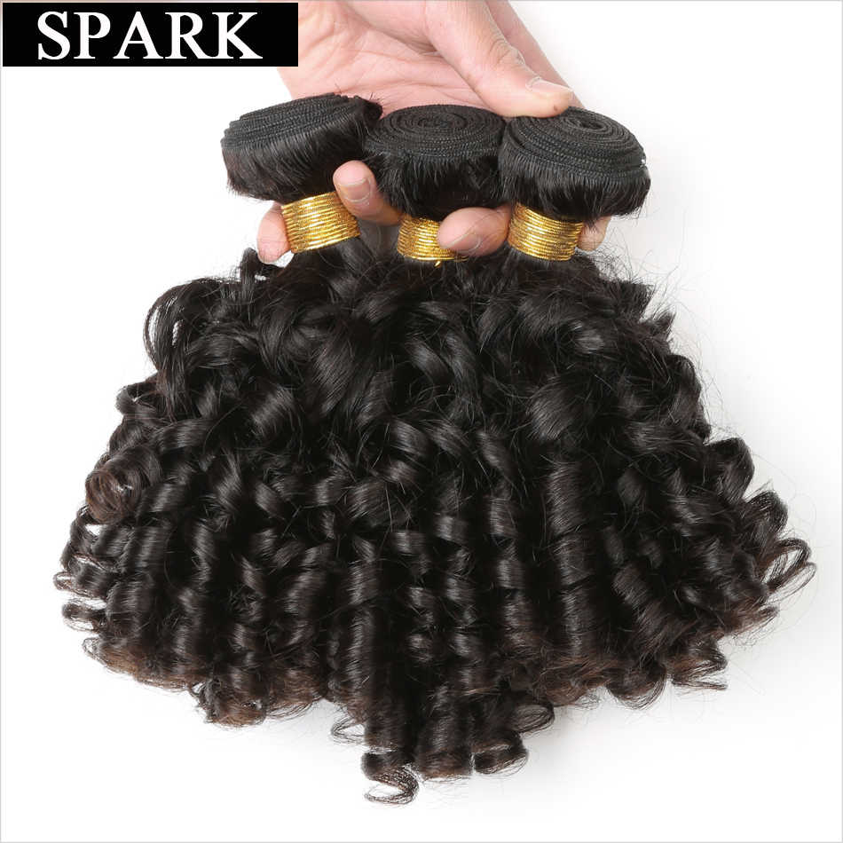 "Spark Brazilian Bouncy Curly Hair Bundles 100% Human Hair Remy Hair Extensions 8""-26"" Ombre Color 1B/30 Curly Hair 1/3/4 Bundles"