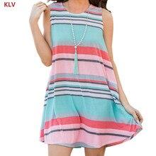 KLV Women Sleeveless Striped Tunic Top Pocket Stretch Swing Tank Dress Looose Casual недорго, оригинальная цена