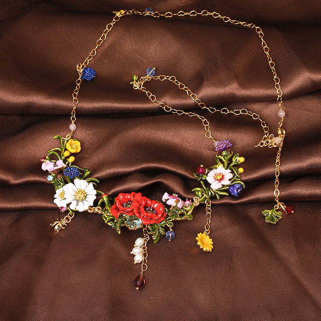 Les New Luxe Flourishing Flowers Necklace For Women Luxury Elegant Noble Lady Party Prom Wedding Jewelry Accessories