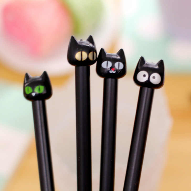 Cute Office Supplies Stationery Supplies Kawaii Pen Cartoon Plastic Black Cat  Gel Pen Creative Pen for Girl Student Gift