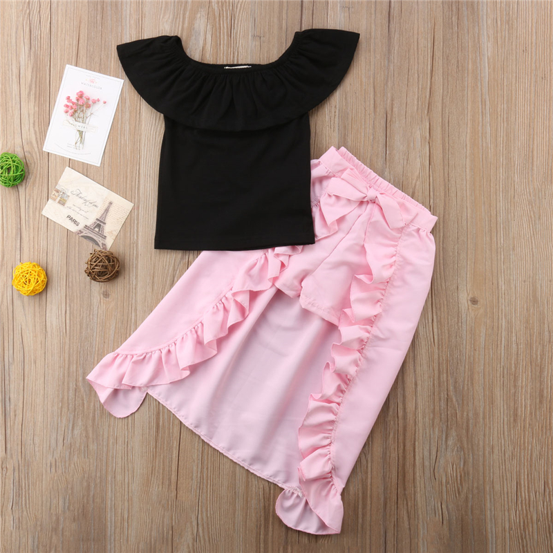 46d431f22b Toddler Baby Girl Summer Outfits Short Sleeve Letter Print T-Shirt Tops+ Bowknot Tutu Skirts ...