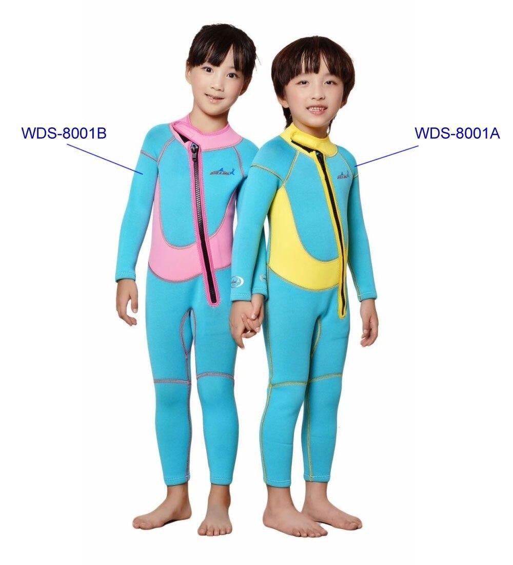 2.5mm Neoprene Mute Per Bambini/bambino Primavera/inverno/autunno Costume Da Bagno Di Spessore Vestito Di Nuotata Dei Bambini Rosa/giallo Sx/s/m/l/xl