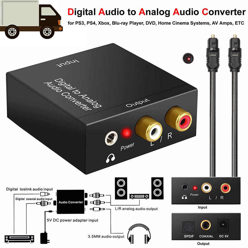 3.5 Mm Jack Digital Ke Analog Konverter Audio Amplifier Decoder Optical Fiber Coaxial untuk Sinyal Analog RCA L/R audio Adapter