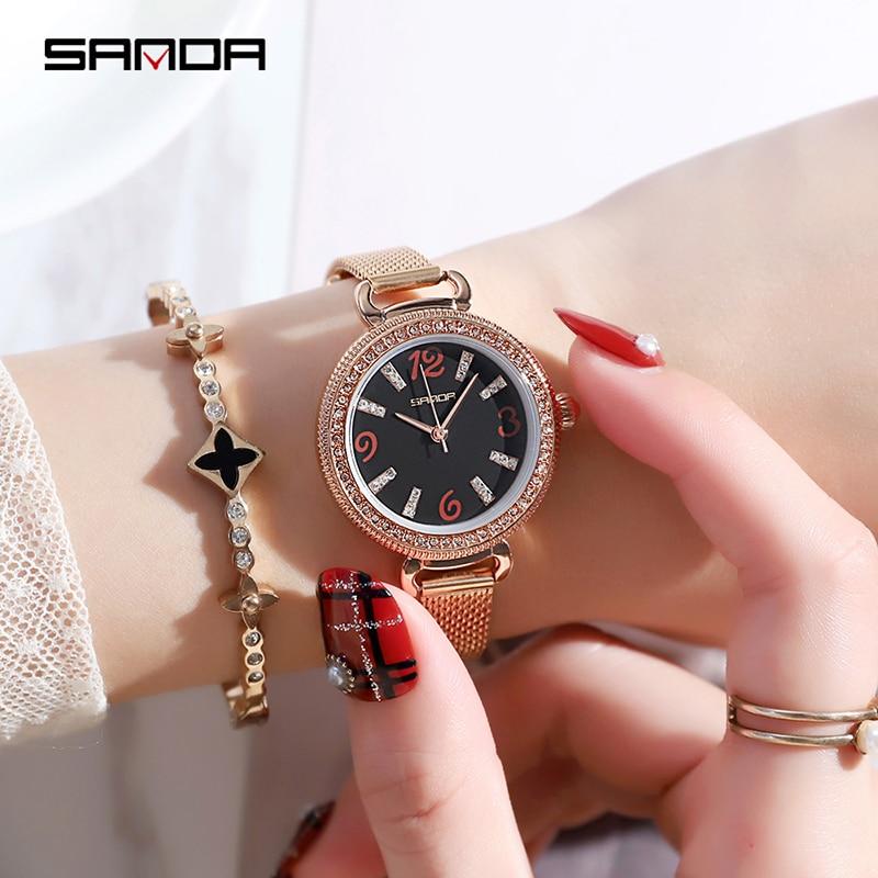 SANDA Fashion Elegant Quarts Women Watch Rose Gold Women Wrist Watch New Ladies Brand Luxury Relogio Feminino Reloj Mujer