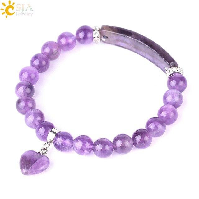 Csja Purple Crystal Bracelet For Women Healing Bracelets Natural Stone Beaded Yoga Love Heart Shape Rectangle