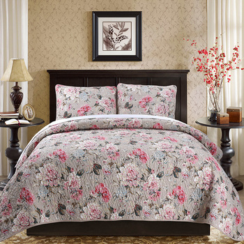 Floral Printing America style Luxury Bedding Set Quilted Bedspread Throw Blanket Double Queen Bedclothes Pillowcase