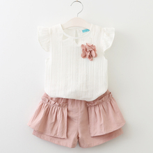 hot deal buy new 2015 kids clothes girls sets summer children's clothing grid two-piece children casual sleeveless vest shorts two suits