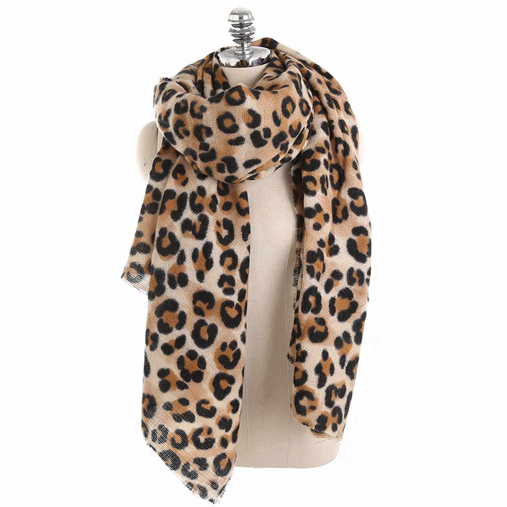 2018 Nieuwe Eenvoudige Mode Vrouwen Winter Warm Leopard Gedrukt Lange Wollen Sjaal Zachte Lange Sjaal Se28