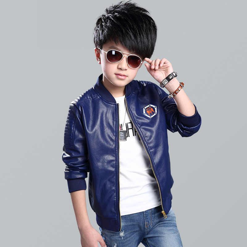 dfe78af63a735 Teenage Boys Bomber PU Leather Jacket 2018 Spring Autumn Kids Boy Leather  Jacket Big Boys Outerwear Children Casual Clothing C21