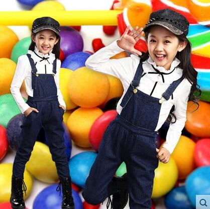 ФОТО Denim Overalls 2015 New Girls Spring Child Denim Overall Set Long-sleeve Basic Shirt Girls' Suspender Jeans