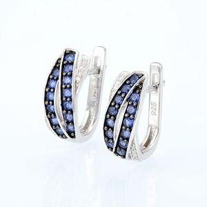 Image 4 - SANTUZZA ensemble de bijoux pour femmes pur 925 argent Sterling bleu Nano cubique zircone pierres boucles doreilles ensemble de bagues délicate Fine bijoux